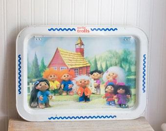 Vintage Troll TV Tray, Kitsch Troll Serving Tray Norlin Trolls School House Trolls, Retro Serving Tray, Childrens TV Tray, Kids Serving Tray