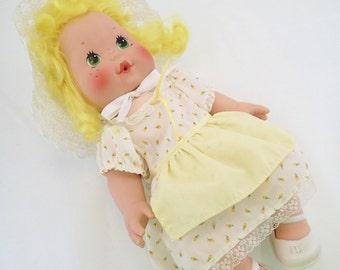 SALE Strawberry Shortcake Blow Kiss Doll Lemon Meringue 80s Baby Doll Yellow