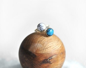 Stone Stacking Ring- MARBLE + TURQUOISE