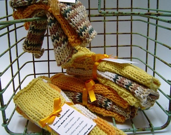 Dishy Dishcloths Hand Knitted 100% cotton Wash/Dry Kitchen Bath Hand Made Stack of Three Colorful Cleanup
