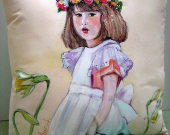 May Flowers - Hand Painted 12x12 Pillow - Charming Spring Cottage - Little Girl in White Pinafore w/Daffodils - Flower Girl Original Art