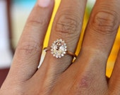 Morganite halo, vintage style halo ring, yellow gold 14K, engagement ring, floral halo design,