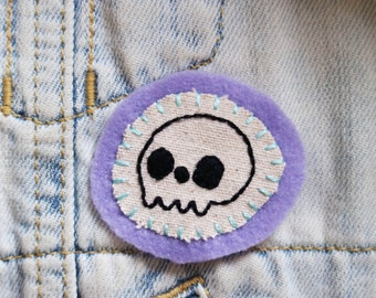 Hand Embroidered Patch Skull Lilac Pastel Purple