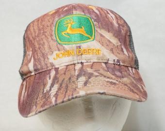Camo John Deere Snapback Hat Gray Floppy Soft Embroidered