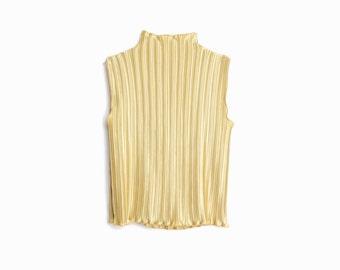 Vintage 90s Gold Accordion Pleated Top / Shiny Gold Sleeveless Turtleneck - women's medium