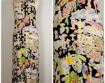long maxi novelty print dress black floral grunge 90s sleeveless summer dress with keyhole back pink blue green small