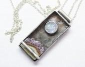 Amethyst Moonstone Landscape Shadowbox Pendant in Sterling Silver