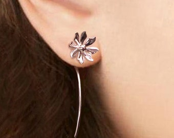 Wild flower earrings sterling silver earrings jewelry dangle earrings cute small stud earrings long stem earrings Daisy Threader E-086
