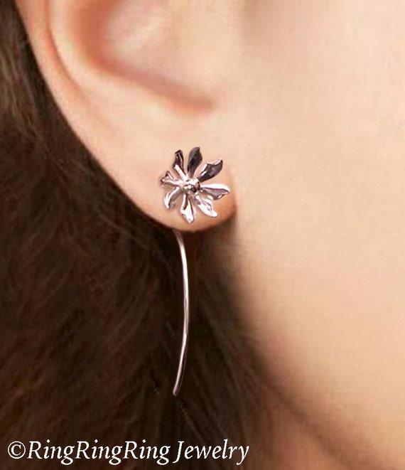 Wild flower earrings sterling silver earrings jewelry dangle earrings cute small stud earrings long stem earrings Daisy Threader E-086