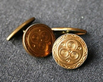Antique golden cufflinks. Retro gift idea for dad on Father's day.
