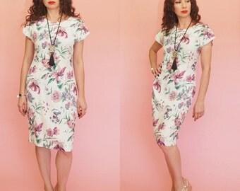 80s Floral Print Dress // Tulip Dress // Pastel Floral Dress // Midi Dress // 80s Does 40s Dress // Vintage