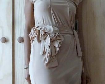 Nude jersey dress with ruffle belt and detailed side drape/3/4  length dress/elegant dress