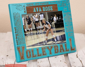 Personalized Volleyball Picture Frame-Volleyball Gift-Sports Gift-Wood Engraved-Get your name/number engraved!
