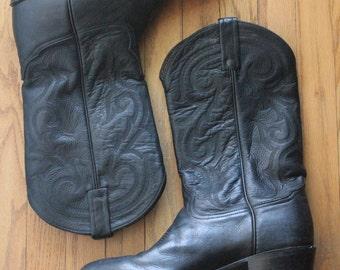 Vintage 80's Black Leather Cowboy Boots by Tony Lama, size 10 1/2 D