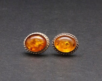 Amber Stud Earrings, Sterling Silver and Natural Baltic Honey Amber Earrings, Simple Everyday Gemstone Earrings for Her, Amber Jewelry
