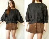 Vintage Black Indian Embroidered Batwing Shirt Blouse Top