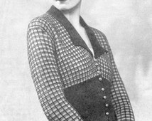 Fabulous 1930s Jacket with Contrast Ribbing, Cuff and Collar 34 Bust Stitchcraft February 1933 Vintage Knitting Pattern Pdf