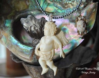 Three Ladies And A Cherub--Hand Carved Bone Cherub Pendant Hematite Stone Victorian Hand Carved Coral And Glass Cameo NECKLACE