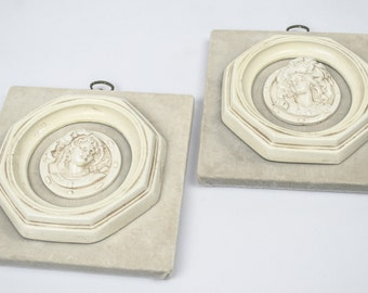 Vintage Cameo Wall Plaques Pair / Wall Decor / Mounted on Taupe Velvet