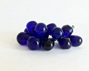 Vintage Glass Grape Cluster Cobalt Blue  Glass Bunch of Grapes Retro Mid Century Decor Lucite Grapes