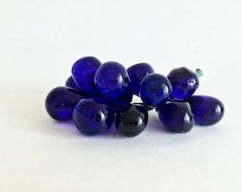 SALE Vintage Glass Grape Cluster Cobalt Blue  Glass Bunch of Grapes Retro Mid Century Decor Lucite Grapes