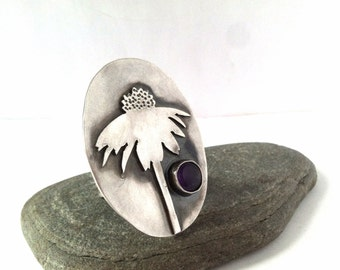 Wildflower Ring - Purple Coneflower - Size 7 - Bloom