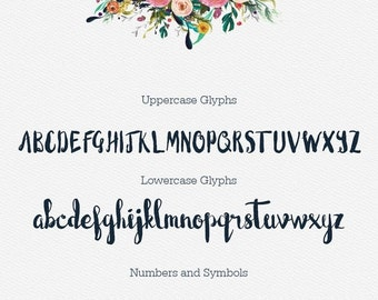 80% OFF SALE Blushingly Wedding Font, Hand Painted Script, Cursive Font, Valentines Day, Heart swashes, Invitation Font