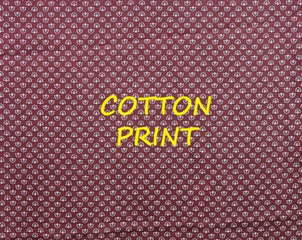 1/2 YARD, Burgundy Tiny White Print, Quilting Cotton or Craft Fabric, Allover Design, B37