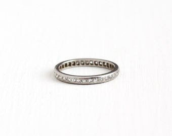 Sale - Antique Platinum Diamond Eternity Wedding Band Ring - 1/2 CTW Size 6 3/4 Vintage Art Deco Fine Engagement Bridal Engagement Jewelry