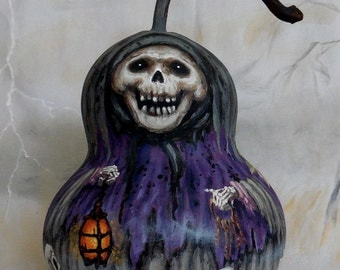 "The Ghoul of Skull Valley, Halloween, hand painted gourd, 8 1/2"" tall"