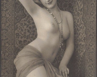 Nude French Postcard Model Mireille in Haremesque Image by BMV, circa 1910s/20s