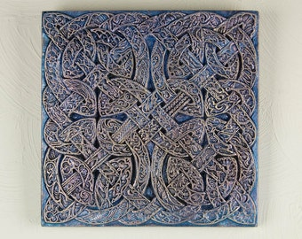 Celtic Knot Wall Plaque Housewarming Gift Outdoor Art Celtic Iliad Cast Stone Garden Sculpture