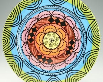 Rainbow Rim Platter Hand Painted Bohemian Mandala Art Serving / Personal Dinnerware