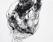 """Gesture Drawing of Male Figure Art - Drawing 424 - 9 x 12"""" charcoal on paper - original drawing by Derek Overfield"""