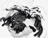 "Large Male Figure Painting on Canvas - Hercules Breaking the Bonds of Prometheus - black, white, grey, 36 x 48"""