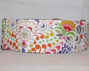 LARGE ONLY SALE Zen Garden Martingale Dog Collar - 2 Inch - flower pattern fun colorful pink purple green white orange