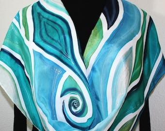 Teal, Navy, Blue, White Hand Painted Silk Shawl NATURE GODDESS. Large 14x72. Silk Scarves Colorado. Elegant Silk Scarf, Birthday Gift