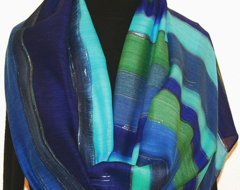 Hand Painted Silk Wool Scarf. Blue, Green, Navy Blue Warm Silk Wool Shawl ATLANTIC BLUES. Silk Scarves Colorado. Large 14x68. Birthday Gift