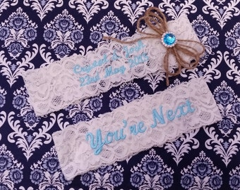 Personalized ivory Wedding Garter set  , stretch lace garter, you're next, burlap, monagrammed, rhinestone crystal garter set, name garter,