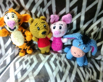 Crochet Winnie The Pooh and Eeyore friends rattle toys inspired