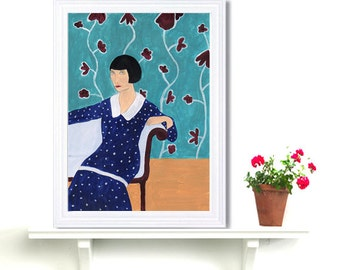 Retro Flapper Girl Art Deco Wall Art Fashion Turquoise Acrylic Painting print Polka Dot Girl Drawing Naive Art Folk Roaring 1920