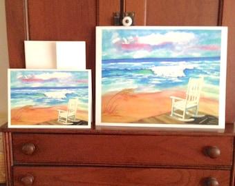 Beach GIFT SET, ocean, rocking chair greeting card, matching 8x10 GICLEE print, gift under 20 dollars, vacation souvenir