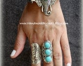 Indian Elephant Ganesh Ganesha Alloy silver plated and Howlite Turquoise bracelet Boho Tribal style design