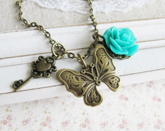 Butterfly charm necklace, turquoise flower, charms, vintage style jewelry, bronze, for her, Europe