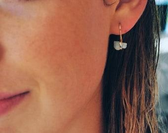 Aquamarine Earrings, Raw Aquamarine, Rough Cut, Gold Earrings, Designer Earrings, Pure Design, Minimalist, Nugget Earrings, Gem Earrings