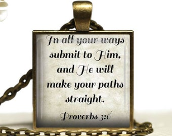 Bible Scripture Glass Tile Pendant Necklace Christian  Verse Proverbs 3 : 6 Religious  Jewelry