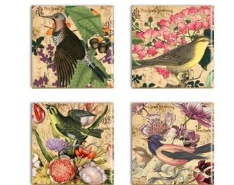 Bird Coasters Flower Bird Ceramic Drink Coasters Sublimated Tile Drink Coasters Bird Lover Gift Set Four Birds Wall Decor