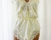 Pale Lemon Yellow One Piece Lace Teddy Cinema Etoile Plunging Front Back Lace Inserts Open Bust New Old Stock Medium