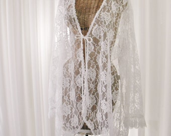 Bridal White Lace Peignoir Robe by Intimate Attitudes Full Sleeves New Old Stock U.S.A. Made Mint Condition