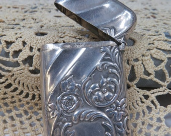 Art Nouveau Sterling Silver Match Safe, Pill Box - Whiting & Co.  Vesta Case, Tobacciana